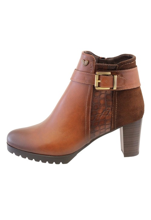 Susst Tan Leather Look Side Zip Block Heel Ankle Boot