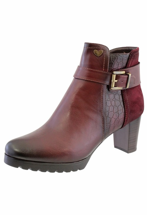 Susst Mulberry Leather Look Side Zip Block Heel Ankle Boot,