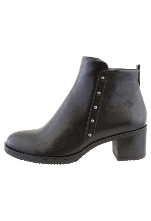 Susst Black Leather Look Plain Front, Side Zip Block Heel Ankle Boot