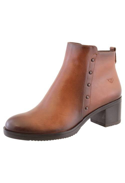 Susst Tan Leather Look Plain Front, Side Zip Block Heel Ankle Boot,
