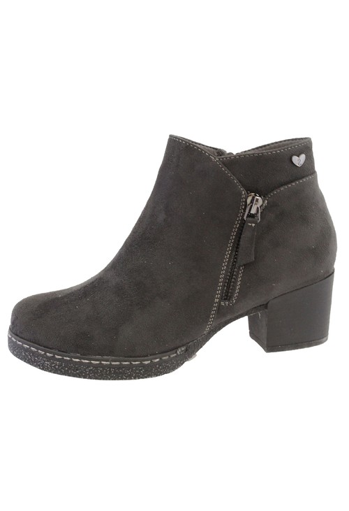 Susst Dk Grey Microfibre Plain Front, Side Zip Block Heel Ankle Boot