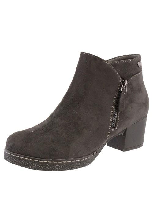 Susst Dk Grey Microfibre Plain Front, Side Zip Block Heel Ankle Boot