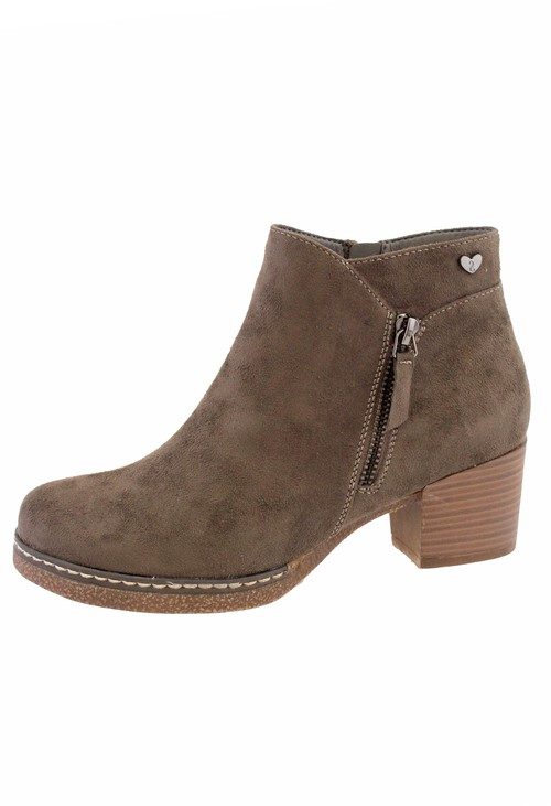 Susst khaki Microfibre Plain Front, Side Zip Block Heel Ankle Boot