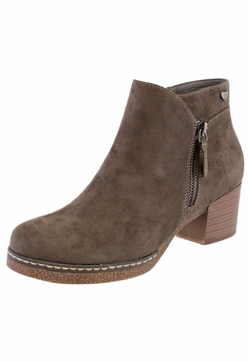 Susst khaki Microfibre Plain Front, Side Zip Block Heel Ankle Boot