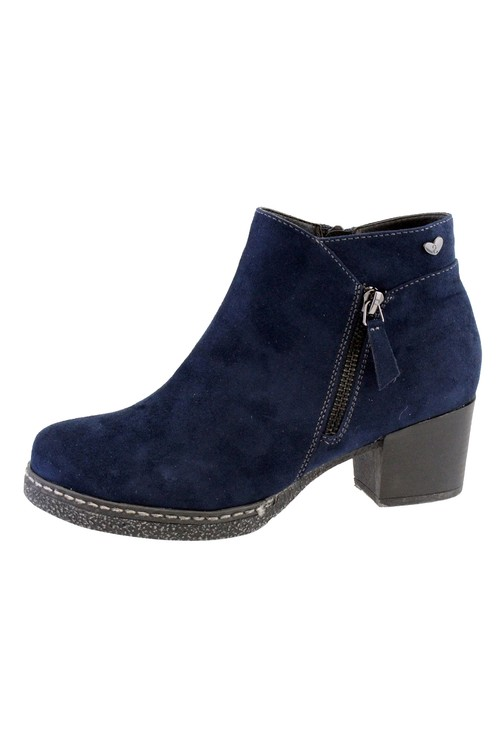 Susst Navy Microfibre Plain Front, Side Zip Block Heel Ankle Boot