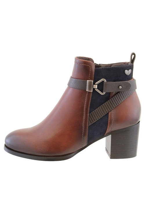 Susst Brown Leather Look Side Zip Cuban Heel Ankle Boot