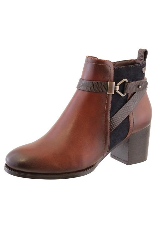 Susst Brown Leather Look Side Zip Cuban Heel Ankle Boot