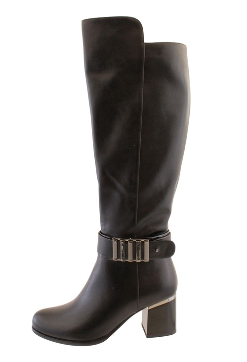 Susst Black Leather Look Side Zip Plain Front Long Leg Boot