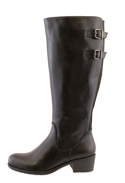 Susst Black Leather Look Side Zip Jodhpur Long Leg Boot