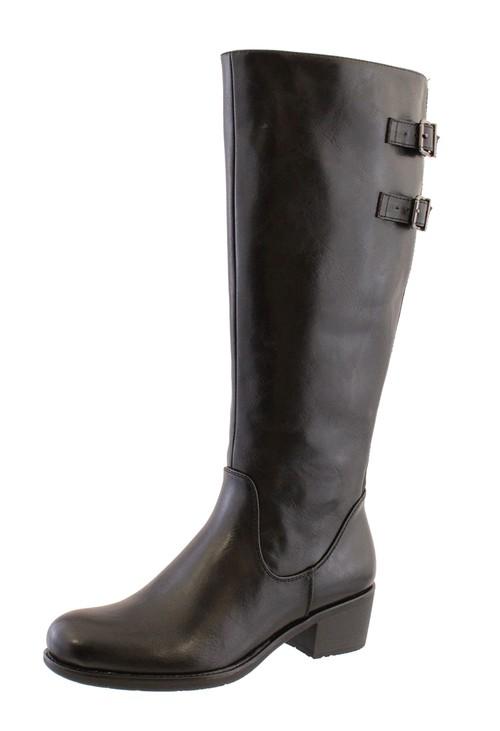 Susst Black Leather Look Side Zip Jodhpur Long Leg Boot