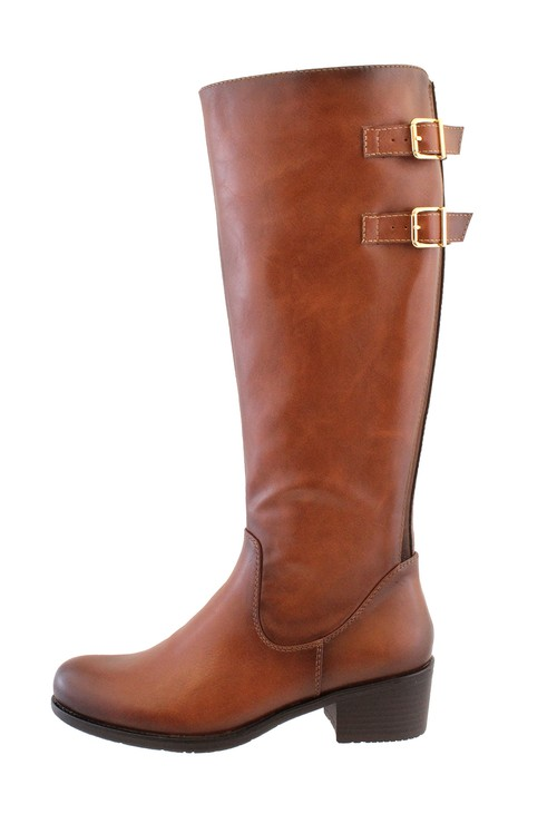 Susst Tan Leather Look Side Zip Jodhpur Long Leg Boot