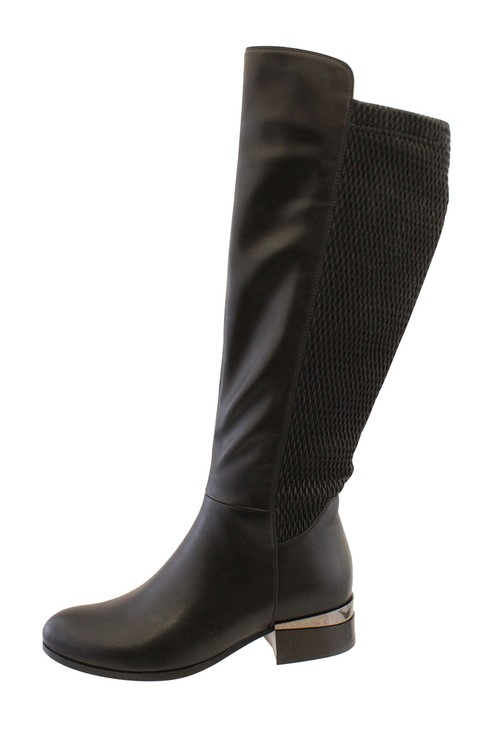 Susst Black Leather Look Side Zip Long Leg Boot