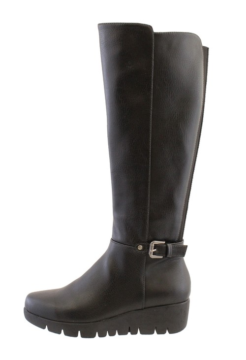 Susst Black Leather Look Side Zip Long Leg Low Wedge Boot
