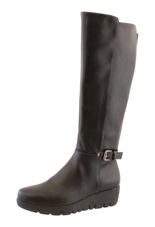 Susst Black Leather Look Side Zip Long Leg Low Wedge Boot