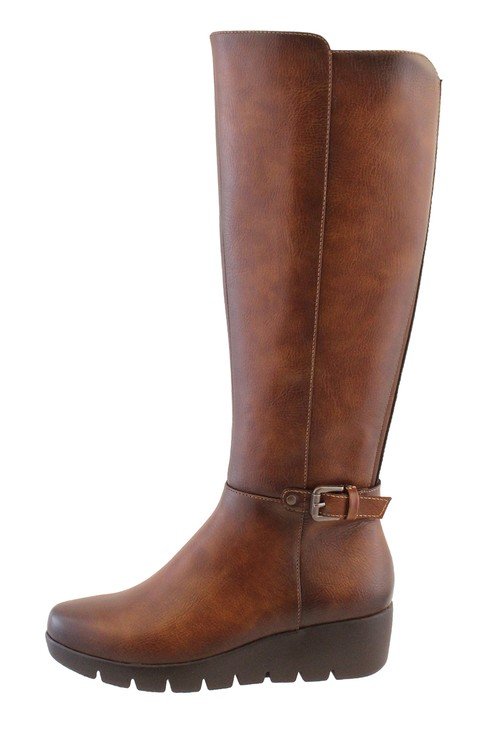 Susst Brown Leather Look Side Zip Long Leg Low Wedge Boot