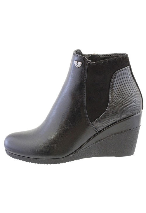Susst Black Leather Look Side Zip Wedge Ankle Boot