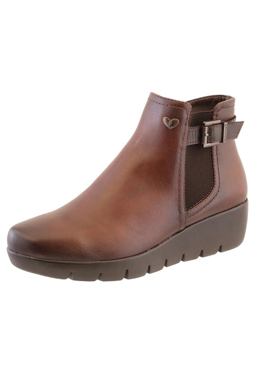 Susst Brown Leather Look Side Zip Low Wedge Ankle Boot