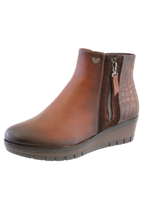 Susst Brown Leather Look Side Zip Low Wedge Ankle Boot,