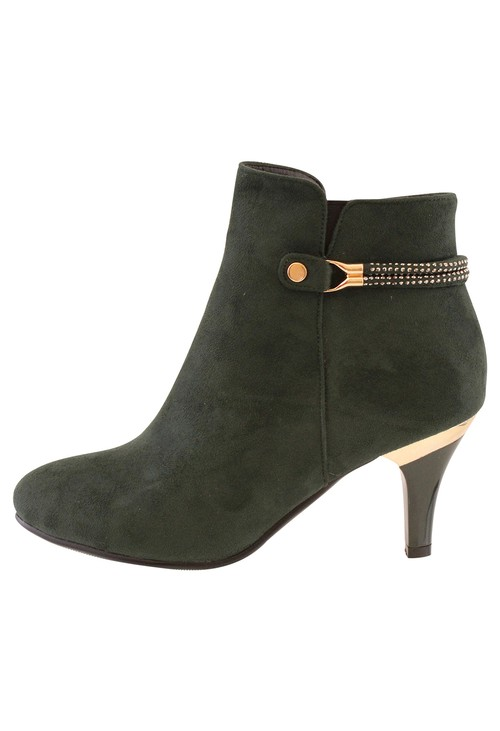 Susst Forest Green Microfibre Plain Front Elegant Boot