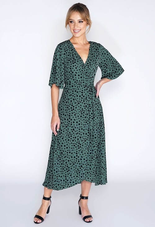 Pamela Scott Animal Print Wrap Dress