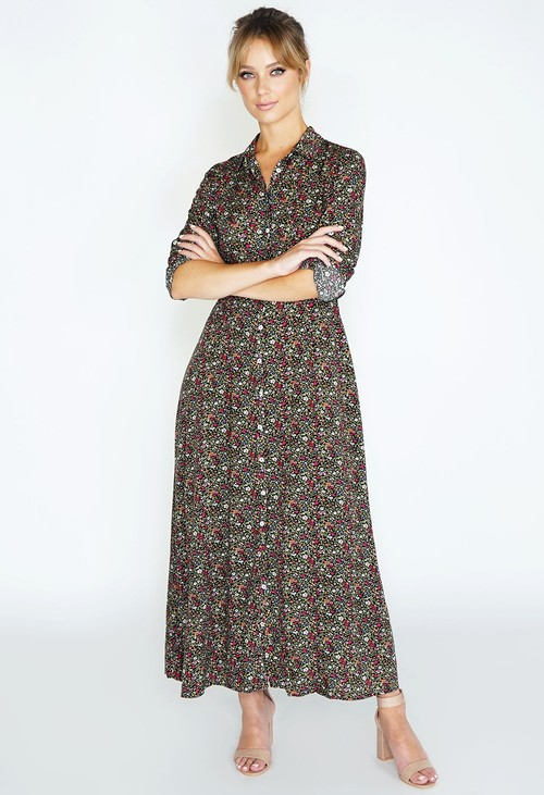 Pamela Scott Tunic shirt dress with floral print