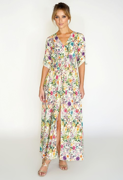 Pamela Scott FLORAL PRINTED MAXI DRESS