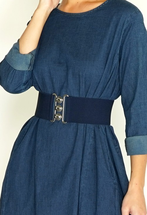 Pamela Scott Navy Elasticated Belt