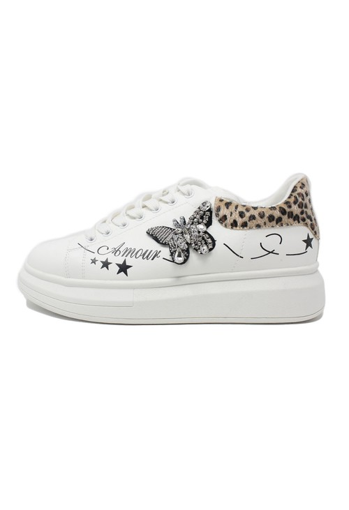 Pamela Scott White with Leopard Pattern Laced Trainer