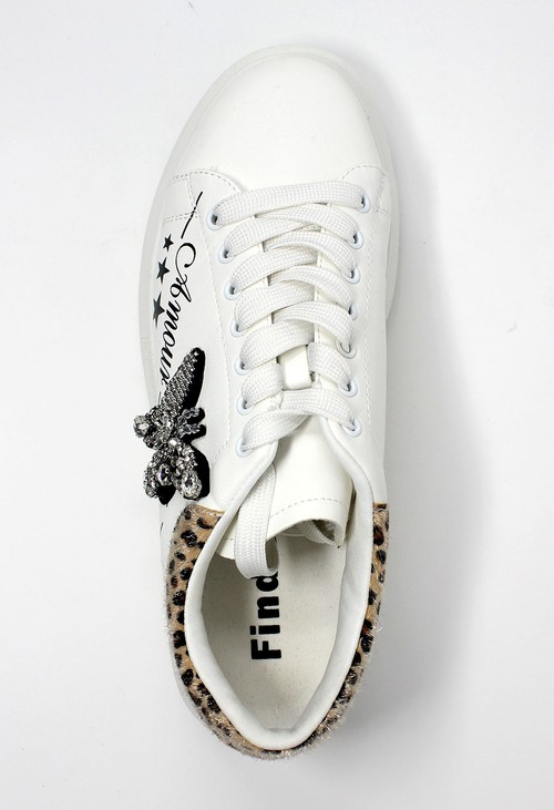 Shoe Lounge White with Leopard Pattern Laced Trainer