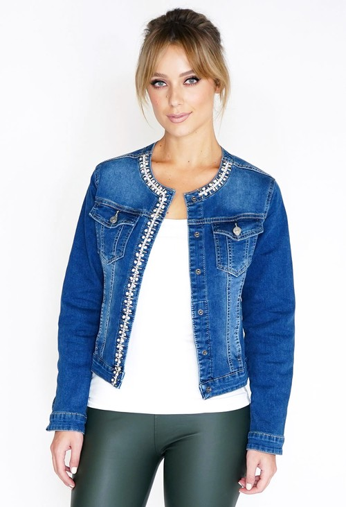 Pamela Scott Jewel Trim Denim Jacket