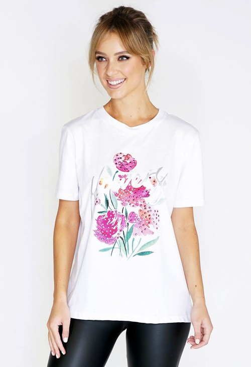 Pamela Scott Flowers Printed T-shirt
