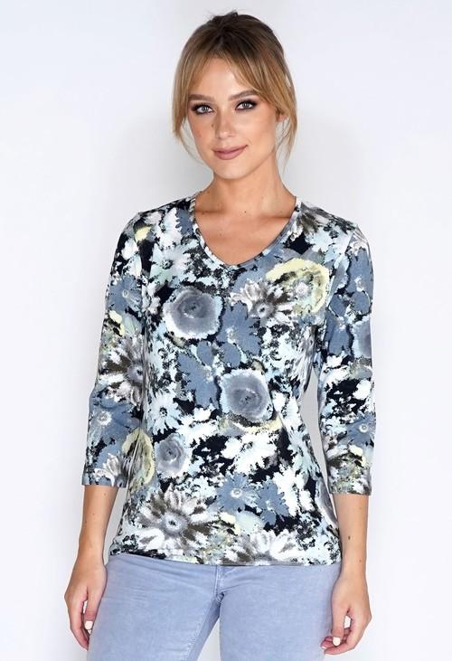Bicalla Shirt Aqua Flowers