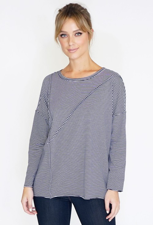 Wendy Trendy Cutabout Stripe Jersey Top