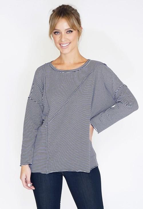 Wendy Trendy Cutabout Stripe Jersey Top