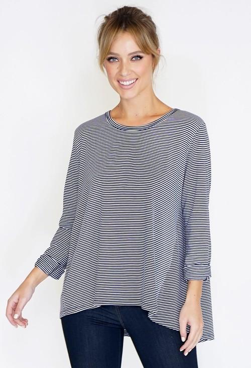 Wendy Trendy 3/4 Sleeve Stripe Top