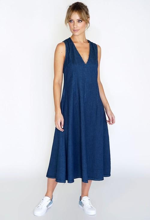Wendy Trendy V-neck Denim Dress