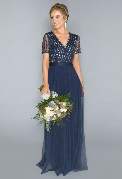 Maya NAVY V NECK SEQUIN AND TULLE DRESS WITH TIE WAIST