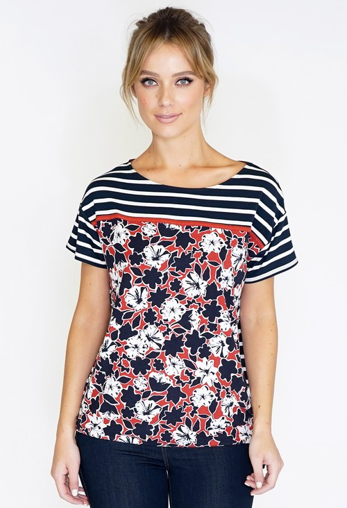 Betty Barclay Stripe and Floral Top