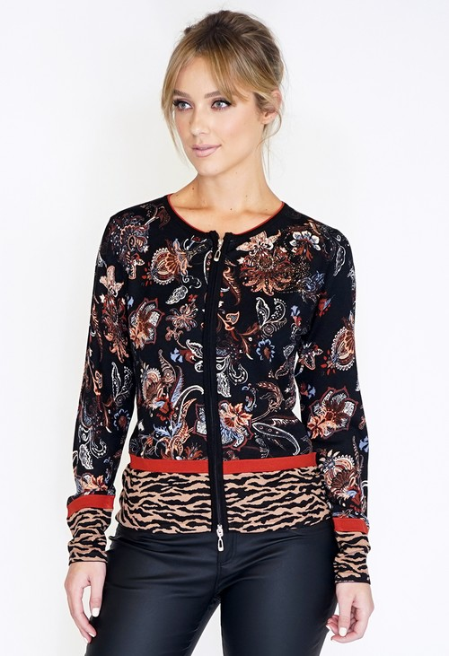 Betty Barclay Knitted Cardigan With Paisley Print