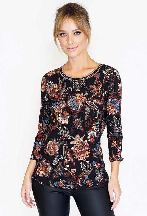 Betty Barclay PAISLEY PRINT TOP WITH DECORATIVE NECKLINE