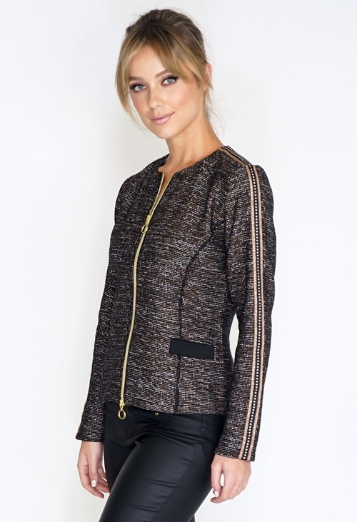 Betty Barclay Zip Up Jacket with Metallic Detail