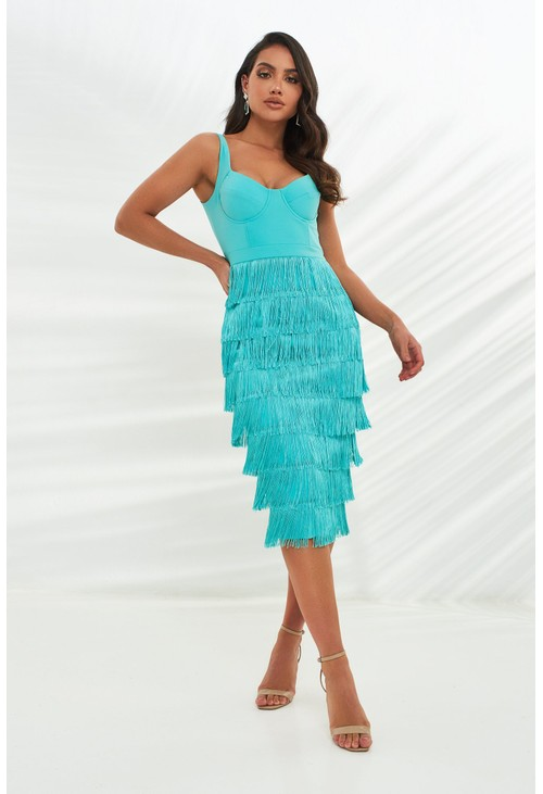 Lavish Alice fringe midi dress in aqua