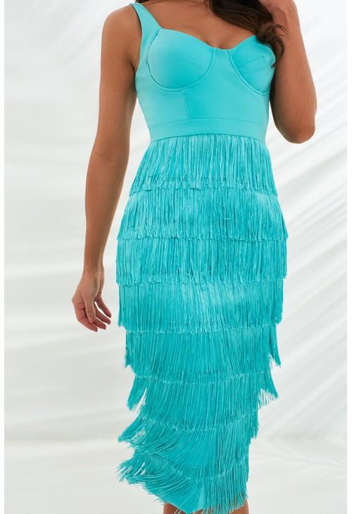 Lavish Alice fringe midi dress in aqua