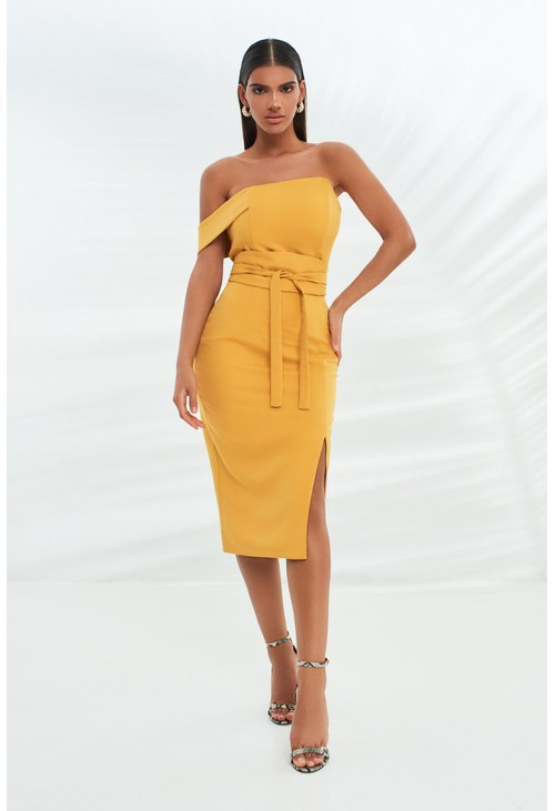 Lavish Alice bandeau mid dress with obi belt in turmeric