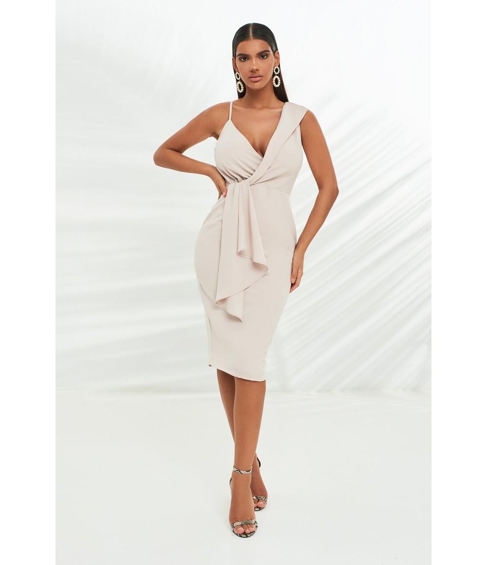 Lavish Alice wrap midi dress with drape panel in stone