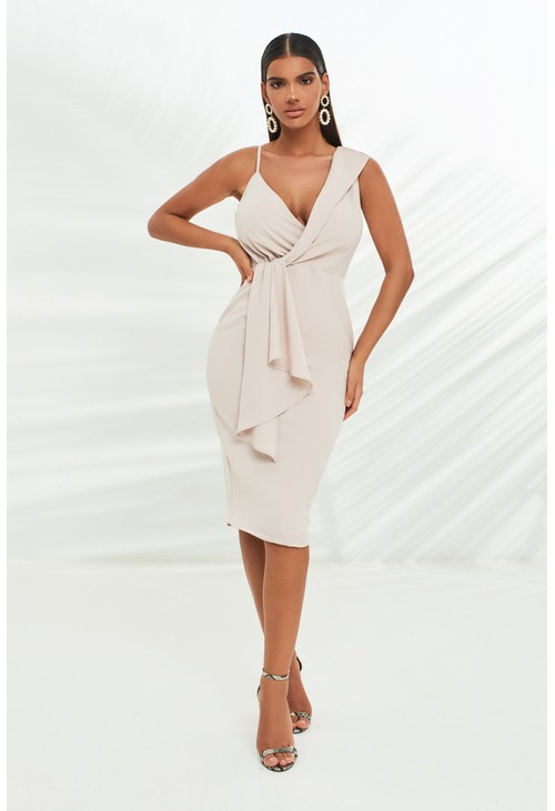 Lavish Alice wrap midi dress with drape panel in stone