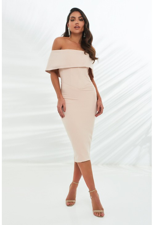 Lavish Alice corset style bardot midi dress in stone