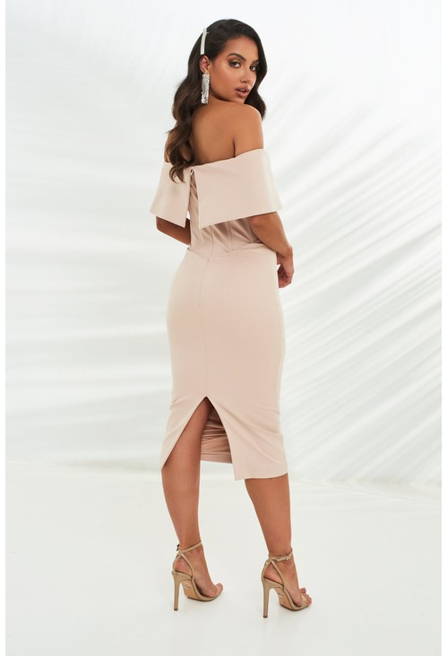 Lavish Alice corset style bardot midi dress in stone
