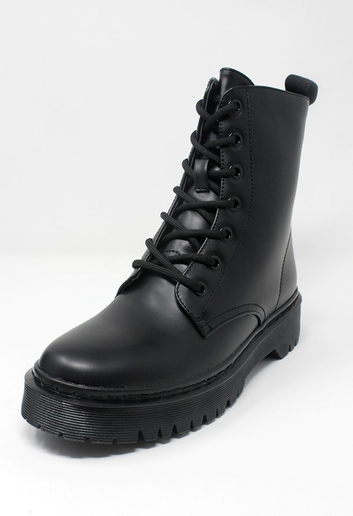 Pamela Scott Black Faux Leather 7 Eye Work Boot