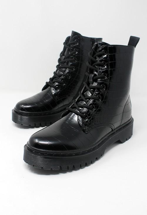 Pamela Scott Black Faux Leather Croc Print Work Boot